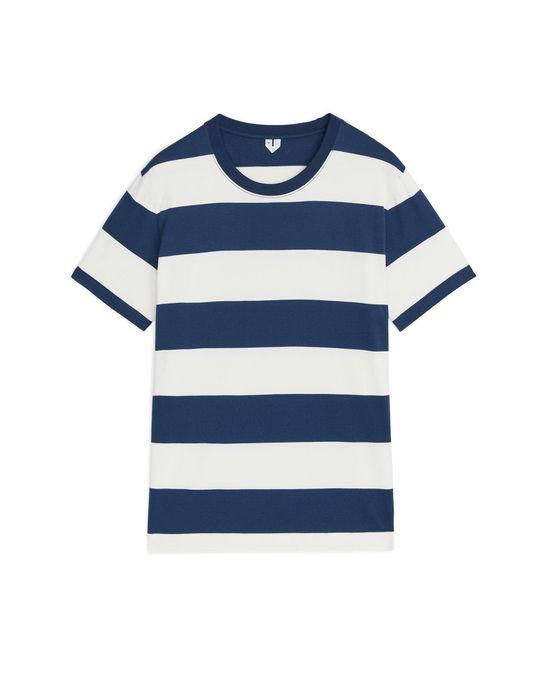 Arket Heavyweight T-Shirt Blue/Off White