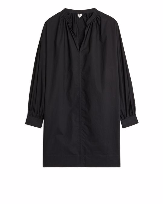 Arket Ruched-Collar Shirtdress Black