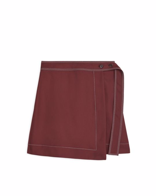 Arket Short Wrap Skirt Brown