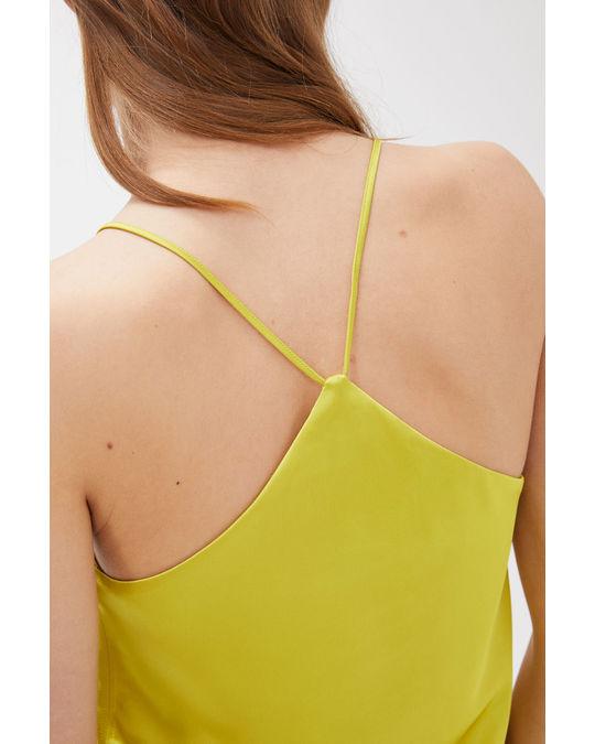 Arket Satin Strap Top Yellowish Green