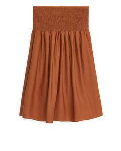 Shirred Cotton Skirt Terracotta