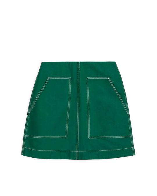 Arket Heavy Cotton Mini Skirt Green