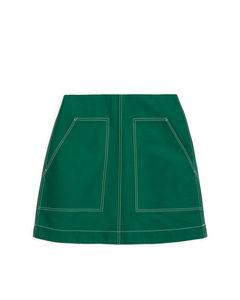 Minirock aus schwerer Baumwolle Grün