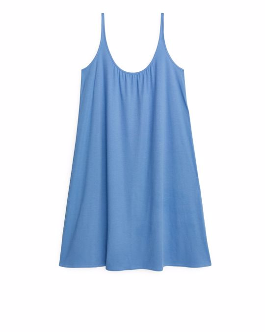 Arket Gerafftes Jerseykleid Blau