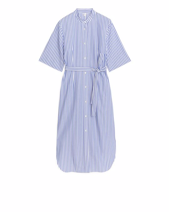 Arket Fitted Shirt Dress White/Blue