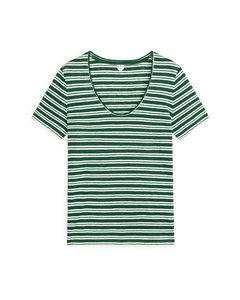 T-Shirt aus Bioleinen Grün gestreift