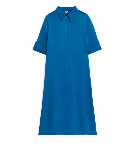 Arket A-Line Satin Dress Blue