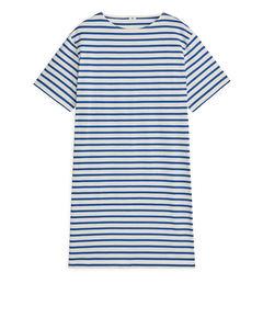 Cotton Jersey Dress Blue/Off White