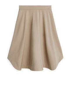 Heavy Cotton A-line Skirt Beige