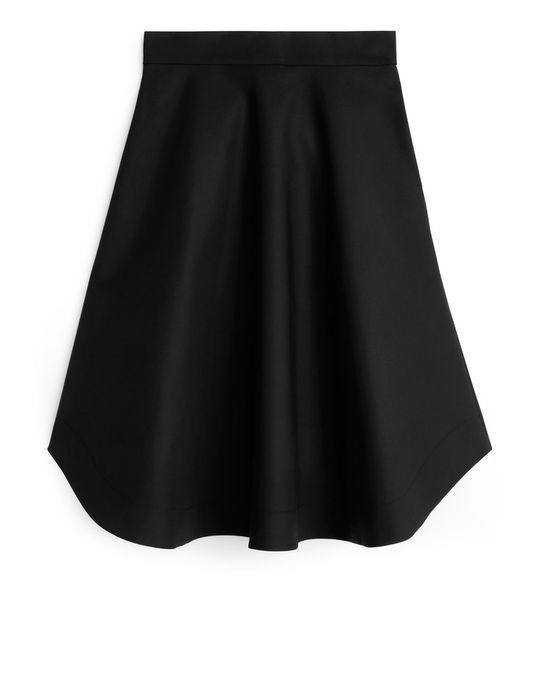 Arket Heavy Cotton A-line Skirt Black
