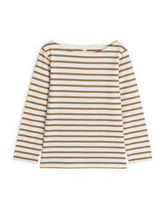 Striped Cotton Top Beige