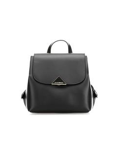 Emporio Armani Black Leather Golden Logo Backpack