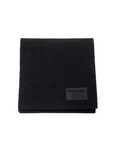 Dsquared2 Patch Black Wool Scarf