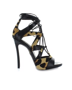 Dsquared2 Tie Me Up Black Animalier Sandal