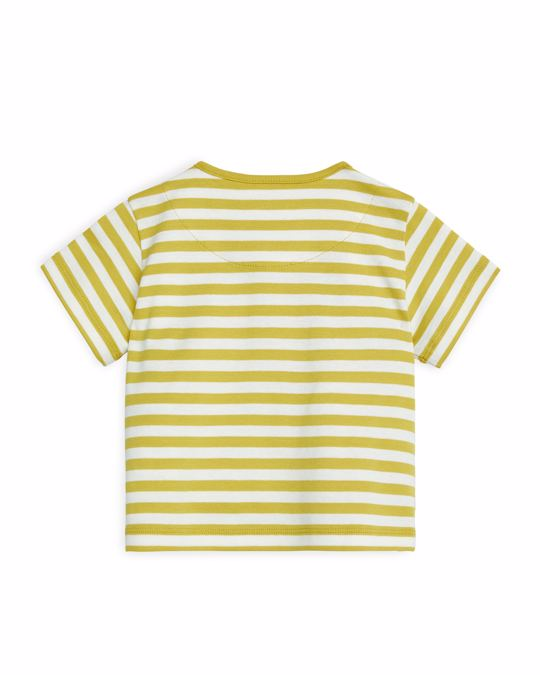 Arket Short-Sleeve Wrap Top Off White/Mustard