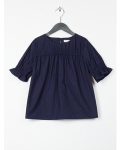 Pima Cotton Poplin Blouse Dark Blue