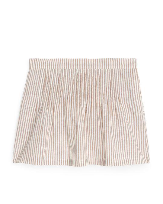 Arket Cotton Linen Skirt Dark Beige/Off White