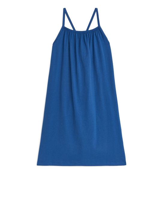 Arket Jersey Strap Dress Mid Blue