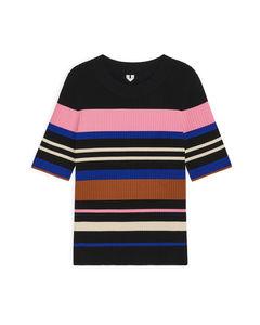 Rib-Knitted Top Black/Striped