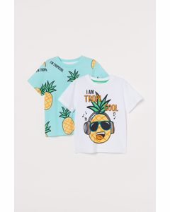 2er-Pack Baumwoll-T-Shirts Weiß/Tropicool