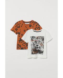 2er-Pack Baumwoll-T-Shirts Naturweiß/Leopardenmuster