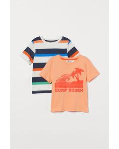 2er-Pack Baumwoll-T-Shirts Hellorange/Gestreift