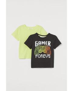 2er-Pack Baumwoll-T-Shirts Schwarz/Gamer Forevs