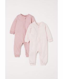 Set Van 2 Pyjamapakjes Oudroze/lichtroze