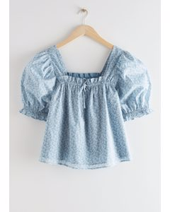Square Neck Puff Sleeve Top Blue Floral