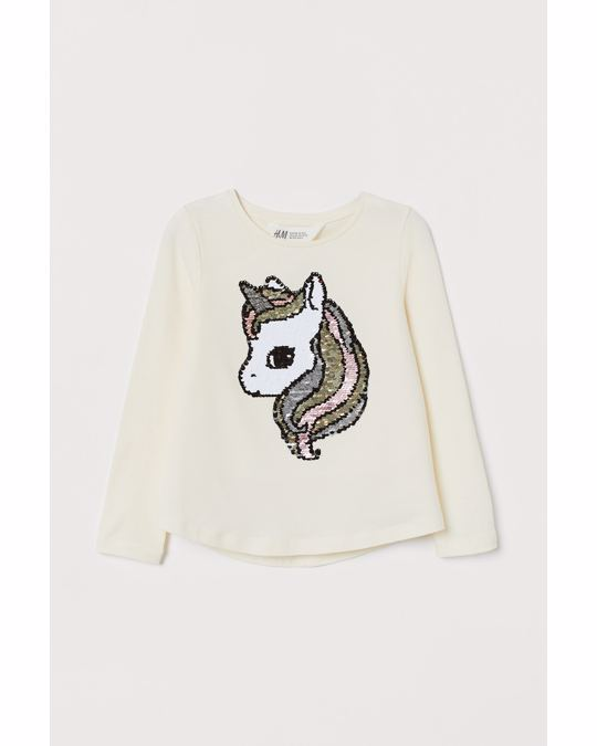 H&M Top with sequins White/Unicorn