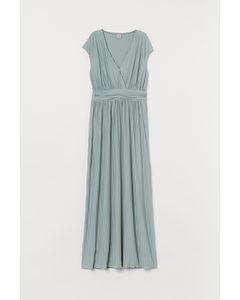 Geplooide lange jurk Mintgroen