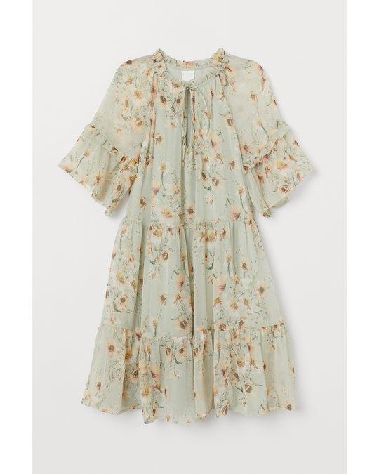 Short Chiffon Dress Light Green Floral Schon Ab Min Price Kaufen Afound