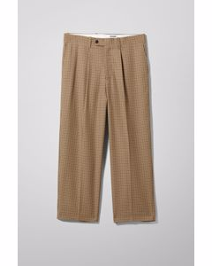 Colin Checked Trousers Beige