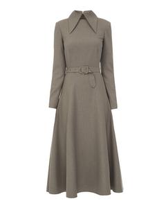 Belted Midi Dress, Grey
