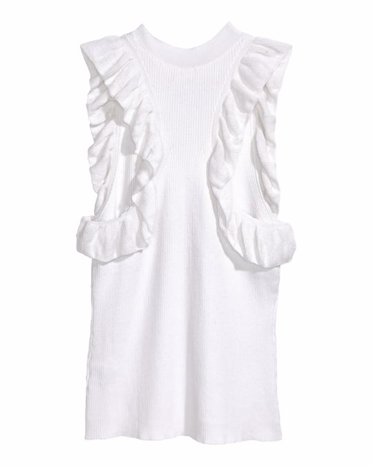 H&M Fine-knit frilled top White