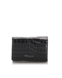 Ysl Crocodile Embossed Compact Wallet Black