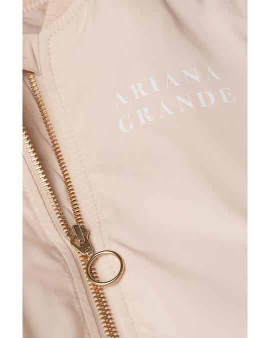 H&M Printed Bomber Jacket Powder Beige/ariana Grande