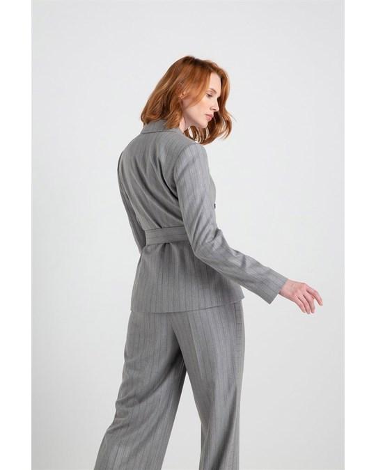 Rue les createurs Lurex Striped Asymmetric Jacket