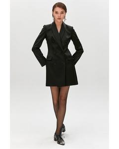 Double Button Satin Blazer Dress