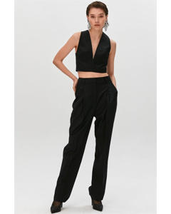 Wide-cut Trousers With Darts