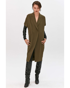 Jacket With Faux Leather Over-sleeves