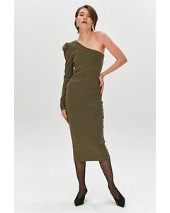 Khaki Asymmetric One Shoulder Knitted Dress