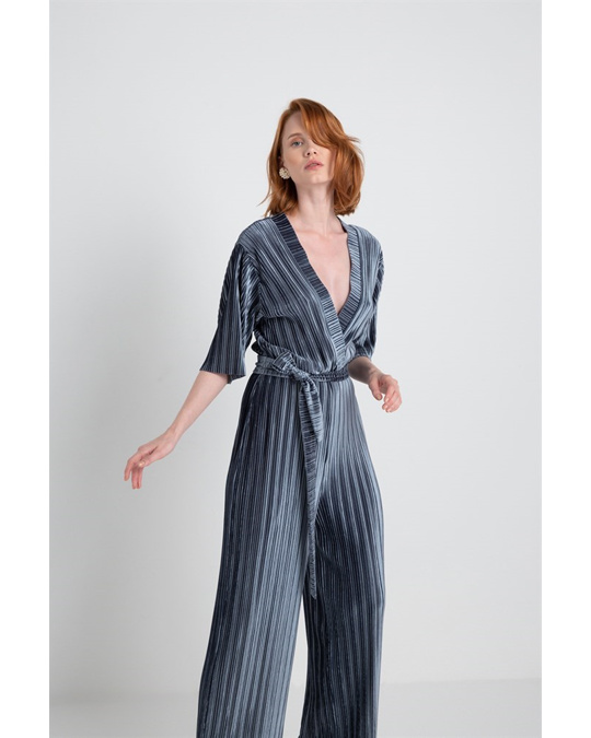 Rue les createurs Double Breasted Pleated Corduroy Overall