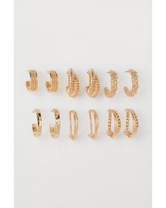 6 Paar Runde Ohrringe Goldfarben