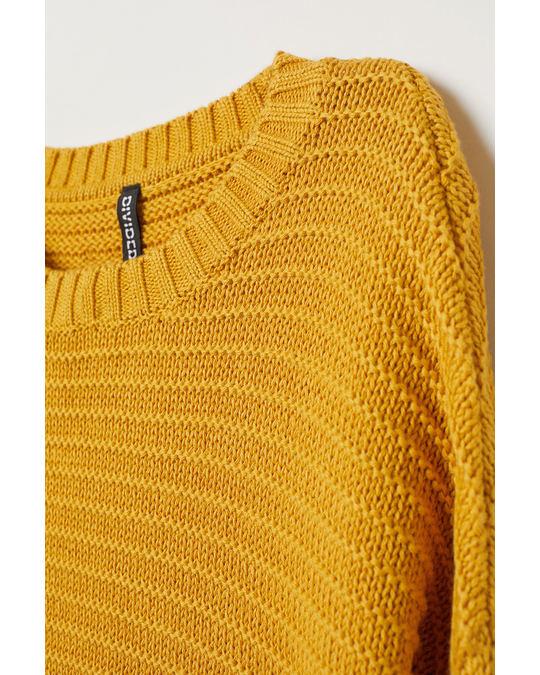 H&M Textured-knit jumper Mustard yellow