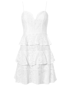 Lace Bustier Flounce Dress Vit