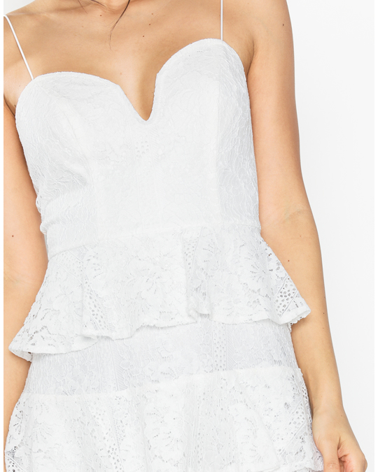 NLY by Nelly Lace Bustier Flounce Dress Vit