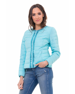 Short Down Jacket,  With Sequins Details In Front Part And Neck Turquoise