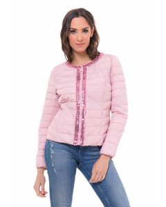 Short Down Jacket,  With Sequins Details In Front Part And Neck Pink