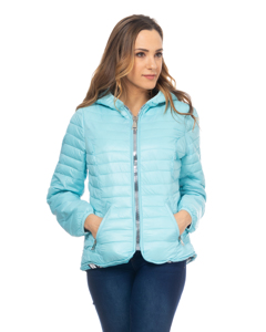 Short Down Jacket,  With Hood And Print Lining Turquoise